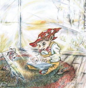 Der Bitkönig - Zeichnung von Gabriele Meischner